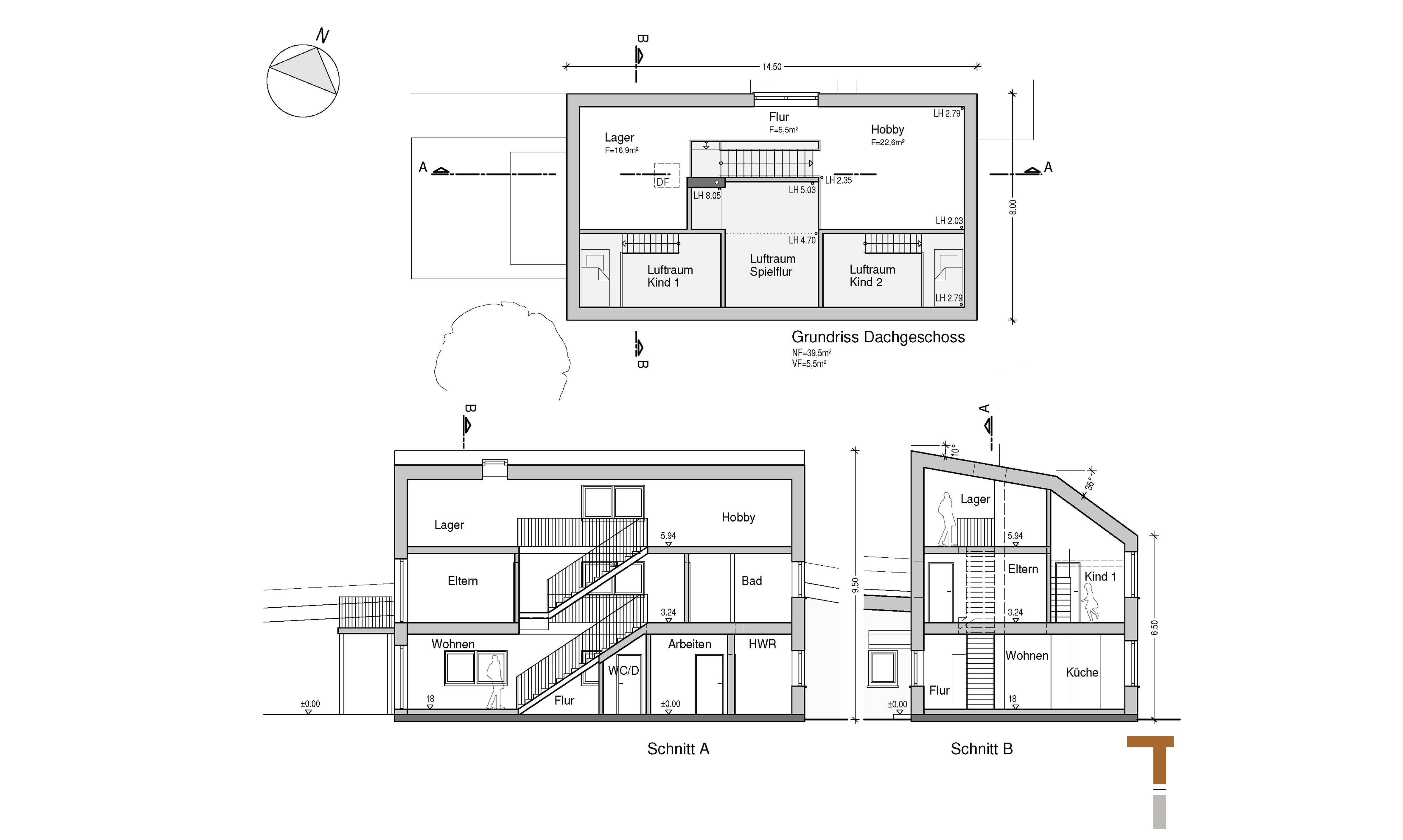 Grundriss Dachgeschoss und Schnitte